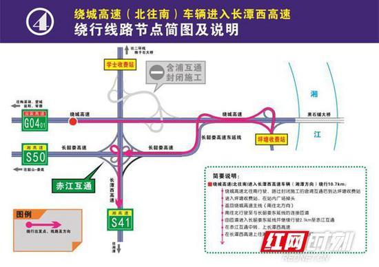 绕城高速(北往南)车辆进入长潭西高速绕行线路节点简图及说明。