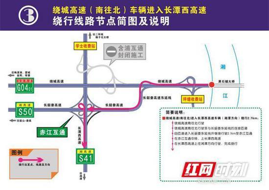 绕城高速(南往北)车辆进入长潭西高速绕行线路节点简图及说明。