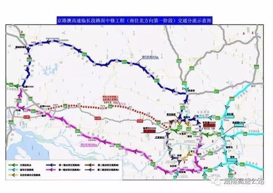 2.南往北在杨梓冲枢纽进行第二级封闭,分流路线如下: