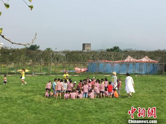 近年来,湖南农村吸引不少能人返乡创业。图为湖南永兴县一家农庄迎来城区幼儿园小朋友开展研学活动。资料图 鲁毅 摄