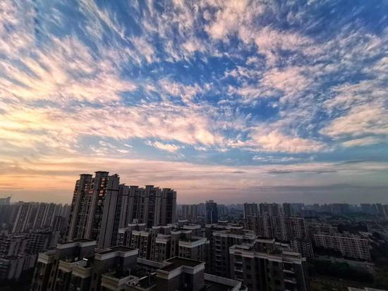 7月29日晨曦,薄薄的、纤细的卷云划过天空。它们通常出现在晴热天气。图/邓泽林