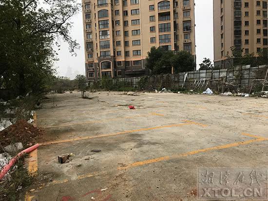 小区内停车场一副荒废已久的样子。