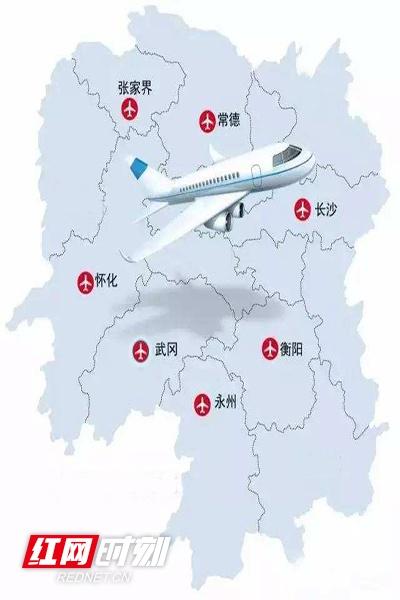 湖南7处机场分布示意图。