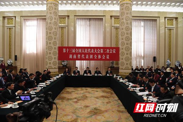湖南代表团举行第四次全体会议,审议政府工作报告,审查计划报告和预算报告。