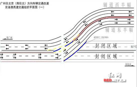 广州往北京(南往北)方向交通改道示意图一。