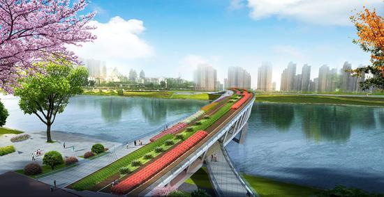 长沙市芙蓉区浏阳河人行景观桥(汉桥)效果图。