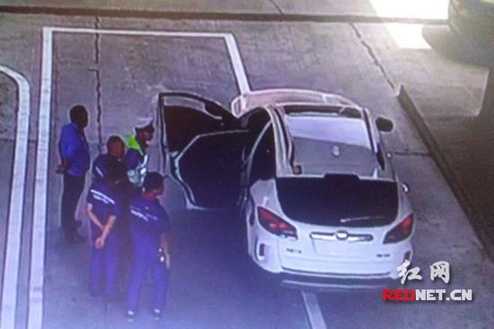 """白马服务区工作人员协同交警抓获""""毒驾""""嫌疑人。(视频截图)"""