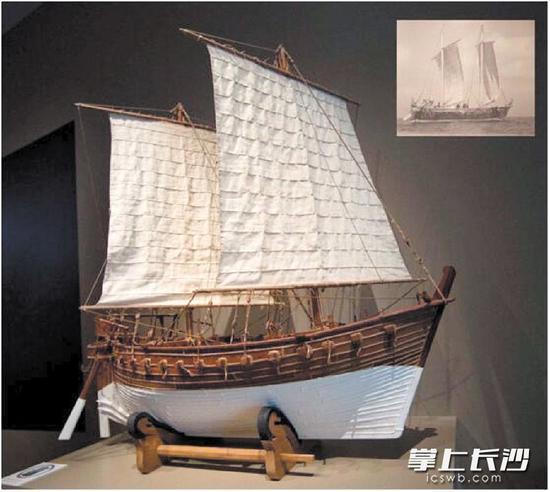 """望城将在铜官窑博物馆设置""""黑石号""""专题展,采用一比一的比例仿制""""黑石号""""沉船。图为""""黑石号""""沉船模型。资料图片"""