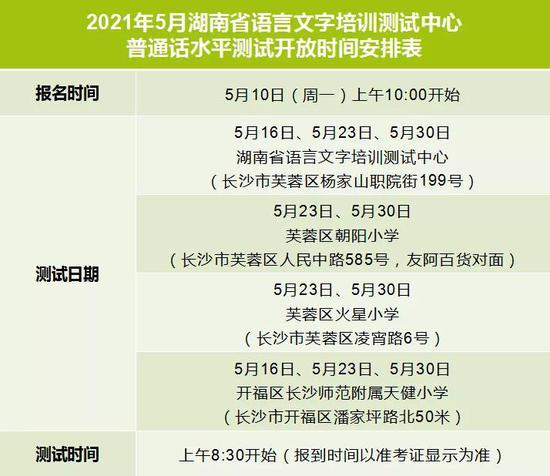 5月10日可报名普通话水平测试