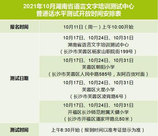 10月湖南省普通话水平测试时间安排出炉!