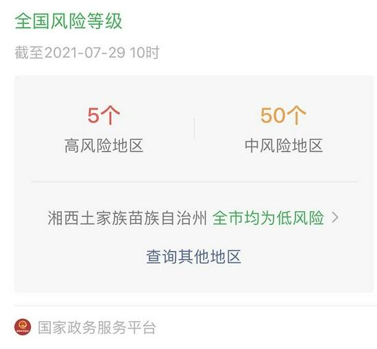 国家政务服务平台查询显示湘西州为低风险地区