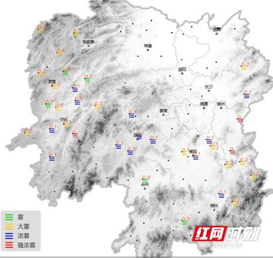 12月17日,湖南各地有雾。