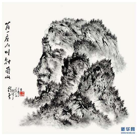 图为舒勇画作《有一座山叫钟南山》。新华网 发