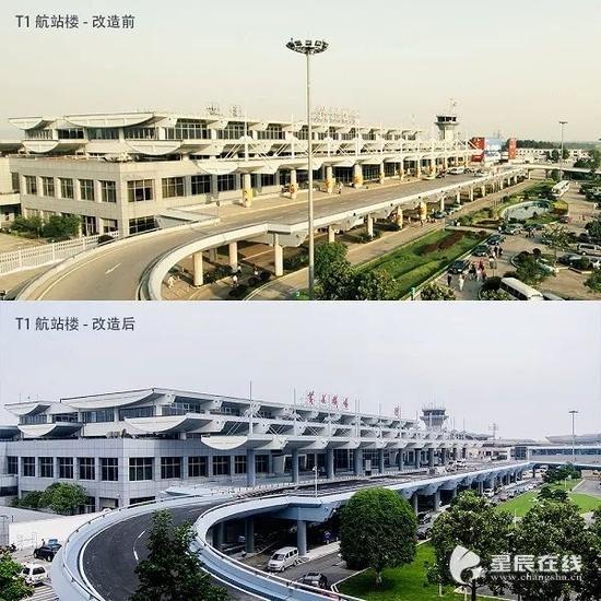 (T1航站楼改造前后对比图)