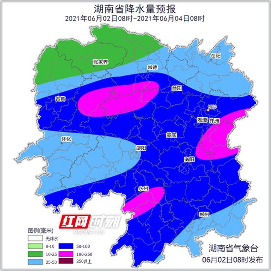 湖南省气象台今早发布的降水量预报图。