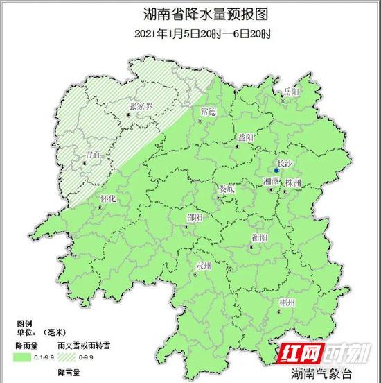最新预报的省内降水情况。湖南省气象局供图