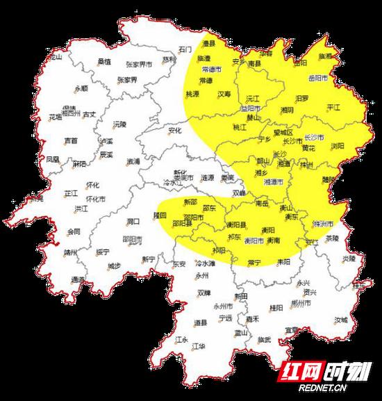 霾黄色预警范围图示。湖南省气象局供图