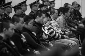 11月9日,浏阳法院,跨国电信网络敲诈勒索案庭审现场。