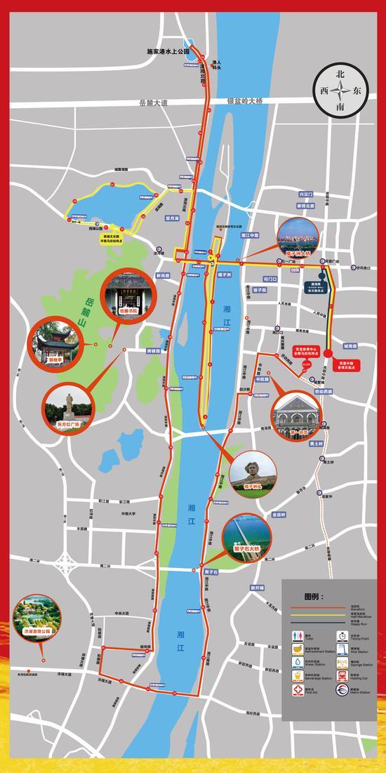 2018年长沙国际马拉松赛事路线图。(详情请点击大图)