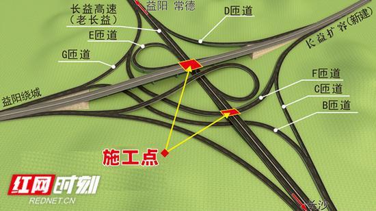 长益扩容苏家坝互通跨线桥施工点示意图。
