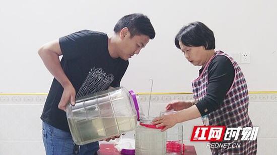 王美绒为女婿(左)准备酒。