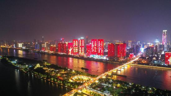 """绝美夜景!长沙""""一江两岸""""灯光秀上新"""