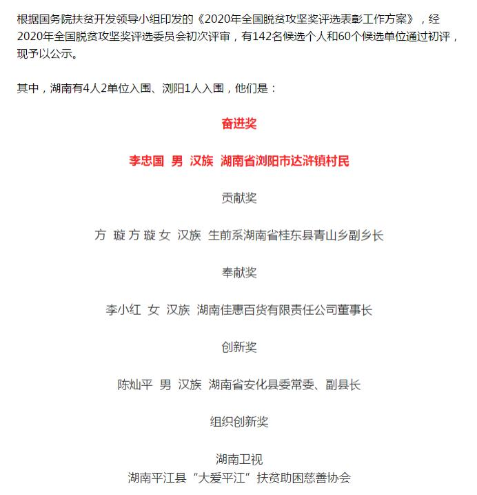 长沙市市级非遗代表性传承人李忠国入围 2020 年全国脱贫攻坚奖