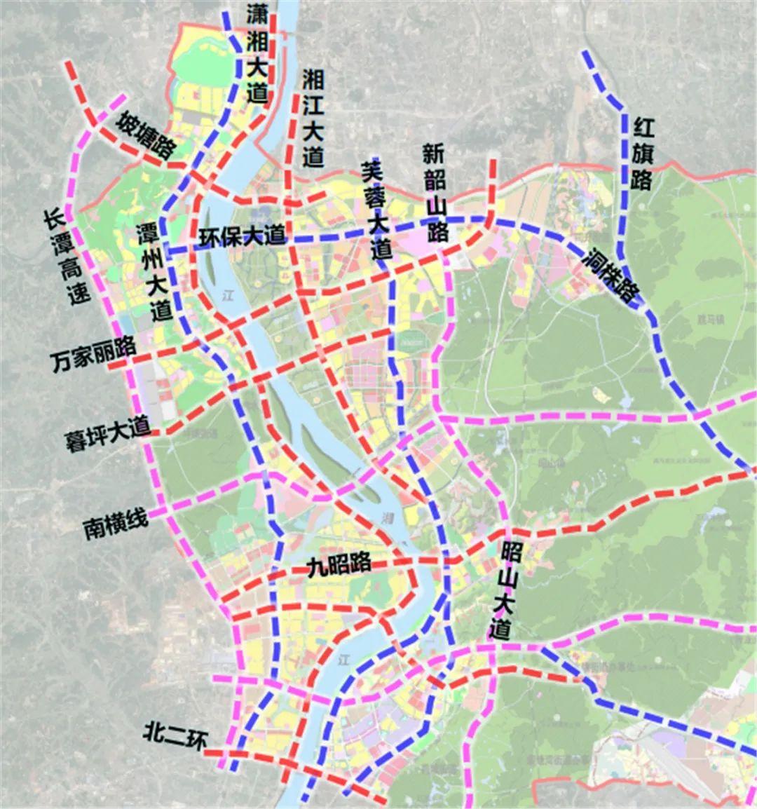 长株潭一体化主干交通路网图。