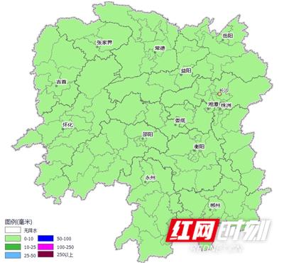 湖南降水量预报(2月10日20时~2月11日20时)。