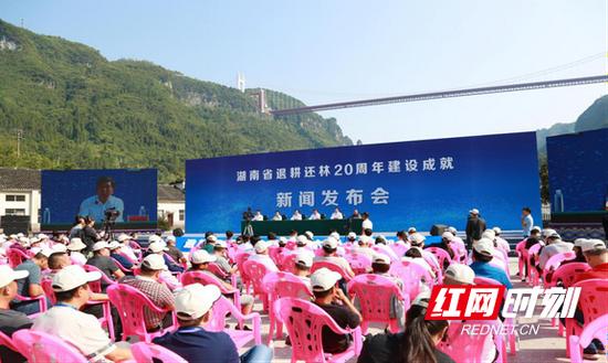 湖南省人民政府在吉首市矮寨镇举行现场新闻发布会,介绍全省实施退耕还林工程20年来的建设成效。