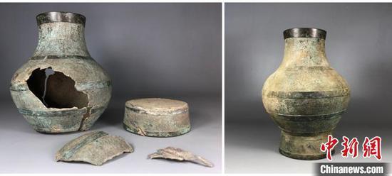 刘胄修复的战国时期青铜器。图为文物修复的前后对比。受访者供图