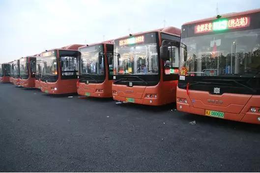 H13线新车在武陵公交站列队待发。