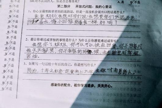 湖南一名留守儿童填写的问卷调查。受访者供图