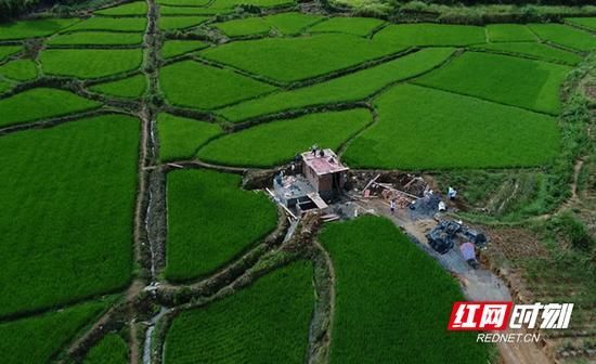 桂阳县樟市镇团结村大茅坪组饮水工程建设施工现场。