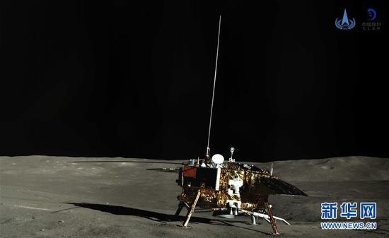 图为嫦娥四号着陆器彩色全景图。 新华社发(国家航天局供图)