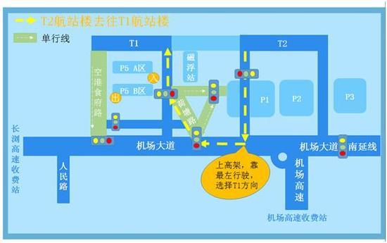 (T2航站楼→T1航站楼路线图)