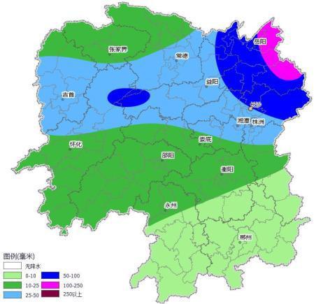 湖南降雨量预报(9月9日20时~9月10日20时)