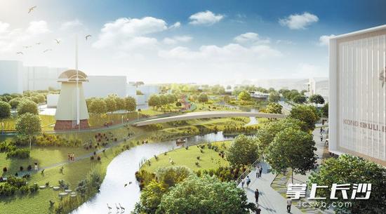 圭塘河畔的海绵城市示范公园井塘公园效果图。长沙晚报记者 李卓 翻拍