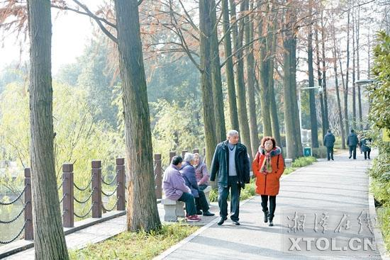 1月8日,市民在菊花塘公园里散步。(记者 罗韬 摄)