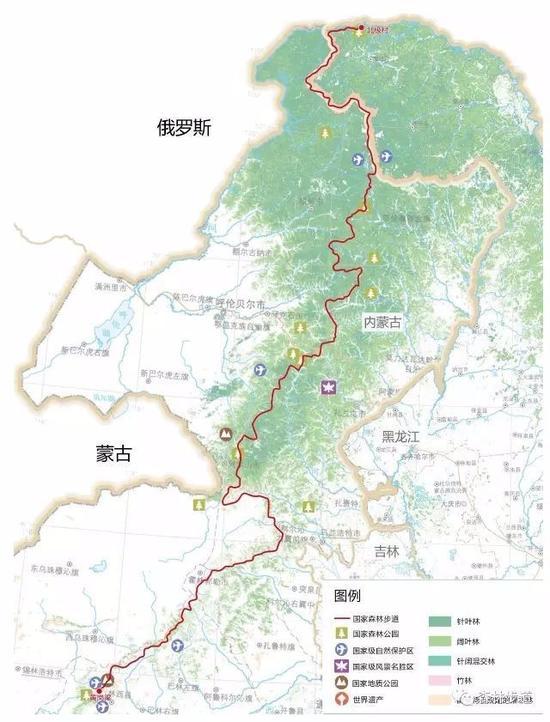 行走在大兴安岭国家森林步道