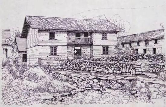 村落建筑手绘图