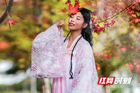 """这位""""临武妹子""""身着汉服与红枫悄悄""""对话""""。"""