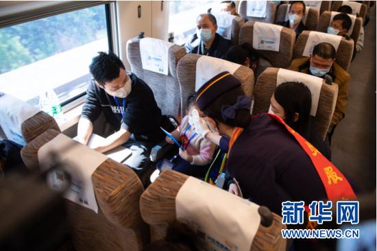 2月24日,在G9628次专列上,列车工作人员为乘客测量体温。