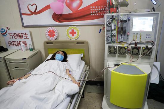 捐献者正在进行造血干细胞采集