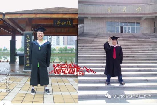 """2012年6月,龚后武(左)龚前文获评""""优秀毕业生""""毕业"""