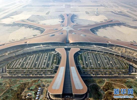 这是6月14日无人机拍摄的北京大兴国际机场航站楼。 新华社记者 才扬 摄