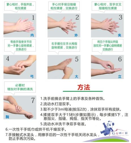 图4 流动水洗手步骤