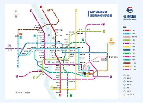 长沙地铁线路图。资料图