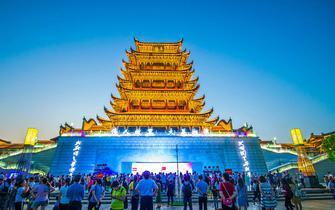 湘潭300年古楼重建 大型灯光秀气势恢宏