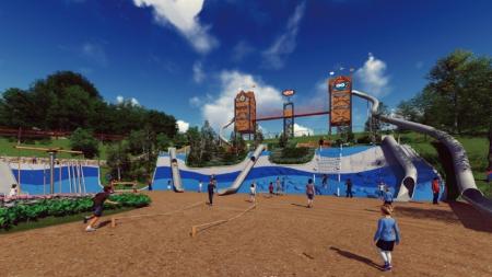 勇气滑道【效果图】酷炫摩天双子塔等多种功能设备组合,让孩子体验攀爬、滑、走、跳、跑、感官体验等乐趣。